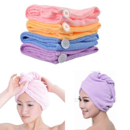 Wholesale Children Hair Dryer Towel Cap - Magic Quick-Dry Microfiber Hair Towel Hair-drying Ponytail Holder Cap Towel Lady Microfiber Hair Towel hat cap High quality