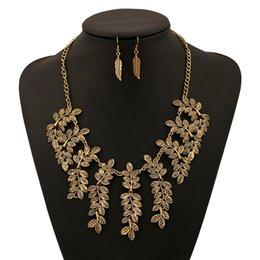 Wholesale Double Strand Set - Exaggerated retro pop leaves superimposed sets of double-strand necklace earrings elegant atmosphere suits wholesale and retail