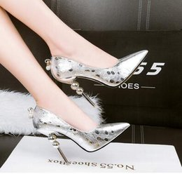 Wholesale Black Gold Glitter Pumps - NEW Europe and the United States fashion high-heeled waterproof table women's shoes shallow mouth sharp diamond point was thin sexy shoes