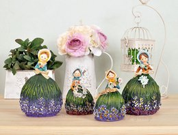 Wholesale Lavender Girl Doll - Pastoral lavender resin girl ornaments creative wedding gifts doll ornaments home crafts gifts