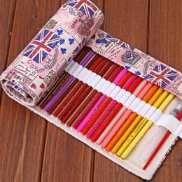 Wholesale Large Jacks - Wholesale- British Style Union Jack Canvas Pencil Case 36 48 72 Holes Roll School Large Capacity Pencil Bag Escolar School Estuche Escolar