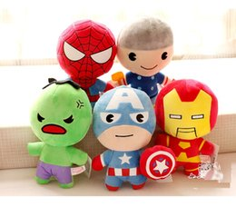 Wholesale Spiderman Toys Doll - Hot Selling Newest Plush toy doll For Q version The Avengers Spiderman Iron Man Stuffed Toys 22cm z012