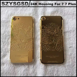 Wholesale Gold Plated Phone Housing - 24CT Gold Mobile Phone Housing 24k Gold Skull Plating Back Cover For iphone 7 7 Plus 24kt Gold Plated Limited Edition Back Housing