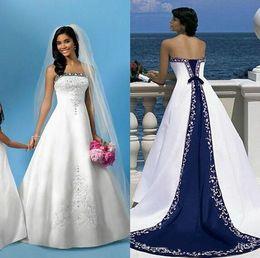 Wholesale Royal Blue Wedding Veils - Strapless A Line Wedding Dresses Satin White and Royal Blue Beach Bridal Gowns Saudi Arabic Dubai Vintage Embroidery 2017 Free Veil New
