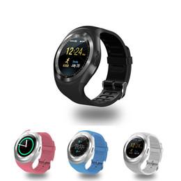 Y1 смарт-часы Bluetooth круглый сенсорный экран круглое лицо Smartwatch телефон с сердечного ритма слот для SIM-карты для IOS Andriod с розничной коробке cheap touch screens phones от Поставщики телефоны с сенсорными экранами