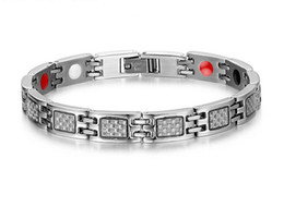 Wholesale Fiber Magnetic Bracelet - Refined Fashion Trends Stainless Steel Carbon Fiber Healthy Power Energy Magnetic Link Bangle Bracelet Anniversary Gift B865S