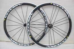 Wholesale Carbon Fibre Alloys - free shipping 700c carbon aluminium wheels white decal SLR carbon wheels clincher 38mm Carbon alloy wheels clincher
