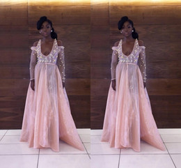 Wholesale Free Flower Art - 2017 Hot African Black Girl Pink Prom Dress Lace Off Shoulder Appliques Scoop A-Line Style Long Sleeve Prom Dress Free Shipping
