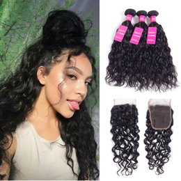 Wholesale European Wave Bulk Human Hair - Malaysian Water Wave Bundles with lace closure free part Human Hair Extension Natural Color Weave Bundles Non Remy