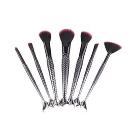Wholesale Cosmetic Power - Black Mermaid Brush Makeup Brush Set 7pcs Cream Face Power Brushes Multipurpose Beauty Cosmetic Brushes Mermaid Toothbrush Cosmetic