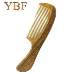 Wholesale Gift Wooden Products - YBF Hair Care Products Health Popular Natural Massage Green sandalwood Handle Hair Wooden Combs Detangling Gift Brushes Brochas