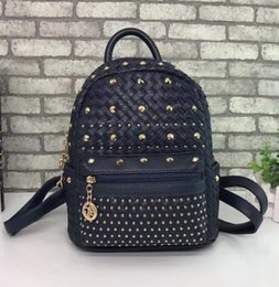 Wholesale Faux Leather Rivet Backpack - 2017 summer mix colors rivet backpack Pu leather new arrival Fashion punk school bag unisex backpack student bag men travel STARK BACKPACK