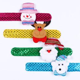 Wholesale Bracelets Santa Claus - New children Sequin Christmas wristband cartoon Christmas deer Santa Claus snowman Flap ring Bracelet Xmas Decorations C2716