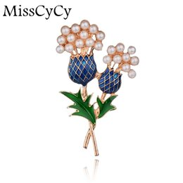 Wholesale Wholesale Pearls For Flower Bouquets - Wholesale- MissCyCy Fashion Brand Jewelry Painted Bouquet Brooches For Women Simulated Pearl Pineapple Tree Flowers Brooch Pins