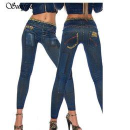 Wholesale Leopard Hot Pants - Wholesale- Sunfree 2017 Hot Sale Womens Denim Leopard Print Skinny Stretch Sexy Pants Soft Tights Leggings Brand New High Quality Dec 7