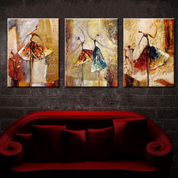 Wholesale Nude Girl Abstract Art Paint - Hand-painted Modern Abstract Oil Painting Figures Girls ballet Dancer Artworks 3 Piece Canvas art Living Room Decor Picture Set