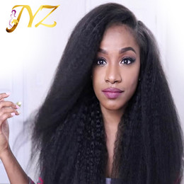 Wholesale Kinky Natural Black Hair Wigs - Full lace wigs for black women kinky straight lace front wigs with baby hair virgin human hair wigs kinky straight pre-plucked hairline
