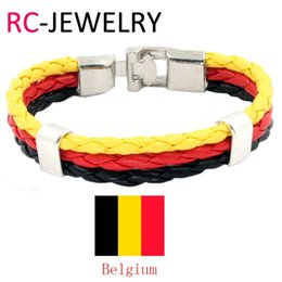 Wholesale Collection Tins - 12# High Quality Handmade World Cup Belgium National Flags Style Sport Fan Collection Cheer Power Cuff Leather Bracelet