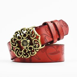 Wholesale Wholesale Carved Leather Belts - Wholesale- Fashion Vintage Genuine Leather Belts Woman Floral Carved Cow Skin Belts Strap Female Belt for Jeans High Quality
