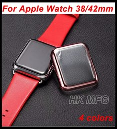 Wholesale Watch Push Button Clasp - For iWatch PC Case Electroplating Plastic Cover for Apple Watch 38 42mm Screen Protective Case Plating shiny case