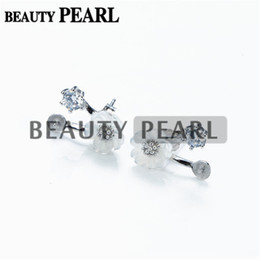 Wholesale Fine Pearl Earrings - 5 Pairs Pearl Earring White Shell Flower Earring Mount 925 Sterling Silver DIY Fine Jewelry Findings