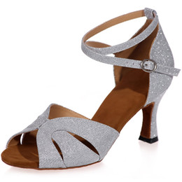 Wholesale High Ballroom - 2017 New Wedding Shoes For Beach Clearbridal Women's Leather Dance Shoes Ankle Strappy Buckle Ballroom Latin Dance Sandals ZXF8349-05