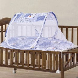 Wholesale Mesh Crib - Wholesale- Portable Baby Bed Crib Folding Mosquito Net Cushion Mattress Summer Baby Infants Mosquito Polyester Mesh Crib Netting JK894306