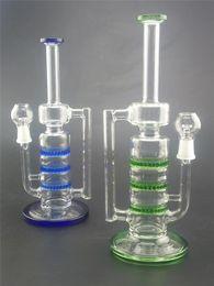 14.5mm conjunto nuevo bong de vidrio tres discos Honeycomb color verde azul 26cm de altura vaso de agua pip de vidrio burbujeador desde fabricantes