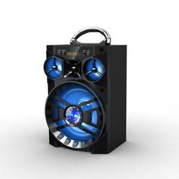 Wholesale Portable Metal Radio Box - Big Sound HiFi Speaker Portable Bluetooth AUX Speakers Bass Wireless Subwoofer Outdoor Music Box With USB LED Light TF FM Radio