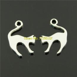 Wholesale-10pcs 19 * 14 mm encantos del gato color plata antigua desde fabricantes