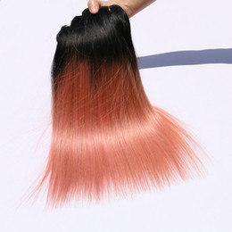 Wholesale Human Hair Straight Gold - New Arrive Rose Gold Color Human Brazilian Hair Ombre Straight Hair Weave bundles Pink Color Brazilian Ombre Hair Extensions