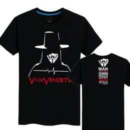 Wholesale Neck Cooler Fan - V for Vendetta T shirt Anti pilling short sleeve Cool tees Film fans clothing Men cotton Tshirt