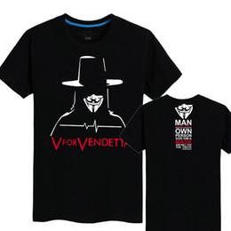 Wholesale Film Tee Shirts - V for Vendetta T shirt Anti pilling short sleeve Cool tees Film fans clothing Men cotton Tshirt