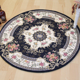 Wholesale White Floral Rug - Round Carpets for Living Room Floor Bedroom Jacquard Carpet Doormat Countryside Table Computer Chair Area Rugs