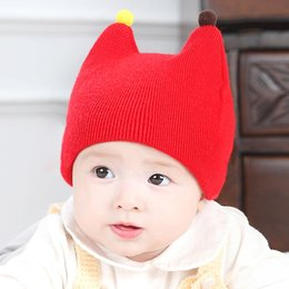 Wholesale Baby Kids Beanie Red - 2017 Fashion New Styles Children Skullies & Beanies Hat Crochet Baby Boys Girls Knitted kids Winter Hat Free shipping