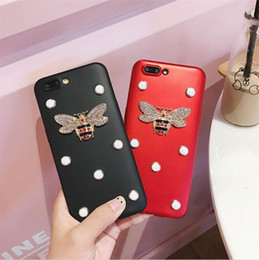 Wholesale Iphone Cases Pearls - Fashion Cute Bee Rhinestone Phone case For Apple iphone8 7 6plus Case Luxury Glitter Diamond Pearl TPU Back Cover Shell