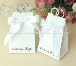 Wholesale Diamond Candy Favor Boxes - Wholesale-ShanghaiMagicBox 50 Pcs Wedding Party White Diamond Ring Style Gift Box Candy Favors Paper Bag 41115003
