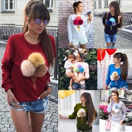 Wholesale Hair Cream Color - Fashion solid color cute hair ball ice cream egg tube printing round neck long sleeve sweater coat Women's Sweatshirts