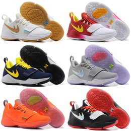 Wholesale Zoom Baits - New Paul George PG1 I Mens Basketball Shoes Zoom PG 1 The Bait Low Blue Black White Shining Limited Edition 2K Trainer Sneaker