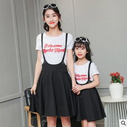 Wholesale Wholesale Ladies Skirts Dresses - Mother and daughter outfit girls lady letter short sleeve T-shirt + black suspender skirt 2pcs sets 2017 summer new family dress T2348