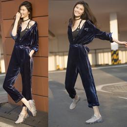 2019 combinaison femmes stars Automne de mode nouvelle femme même style tourner vers le bas collier manches longues pantalon long combinaison en velours Body barboteuses pantalon SMLXL combinaison femmes stars pas cher