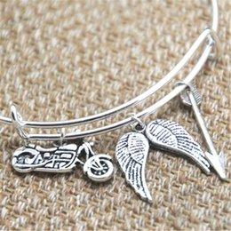 Wholesale motorcycle christmas gifts - 12pcs The Walking Dead Daryl inspired bracelet motorcycle Angel wings arrow charm bangle bracelet