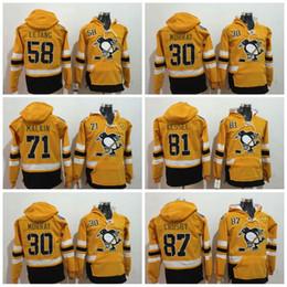 Pingüino sudaderas online-Sudadera con capucha de los Pittsburgh Penguins de la serie Stadium del 2017 87 Sidney Crosby 58 Kris Letang 71 Sudadera con capucha Evgeni Malkin Top de la serie 2017