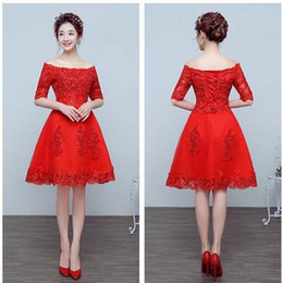 Wholesale Thin Simple Wedding Dresses - New style women wedding dresses evening dress party dresses embroidered Red Lace Short skirts Slim was thin dress free shipping