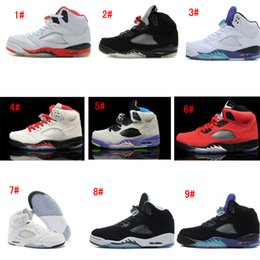 Wholesale Grape Boxes - Retro 5 V Mens Basketball Shoes Fire Red Metallic Silver Grape Laney Green Bean Oreo High Quality Sneakers With Boxes US 8-13