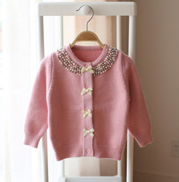 Wholesale Pearl Clothing - Kids sweater INS children pearl bows knitting sweater cardigan girls twist round collar single-breasted outwear children clothing T2832