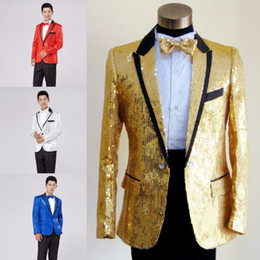 Wholesale Fly Shows - paillette male master Sequins Dresses Stage Costumes Men terno Suit MC Host Clothing Singer Suits & Blazer show jacket outerwear