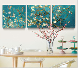 Wholesale Flowering Trees Pictures - 3 Panel Modern Printed Van Gogh Flower Tree Painting Picture Canvas Art Home Decor Wall Pictures For Living Room No Frame