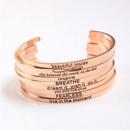 Wholesale custom gold bracelets - Manufacturer Custom Rose Gold Stainless Steel Engraved Positive Inspirational Quote Hand Stamped Cuff Bracelet Bangle For Women Jewelry