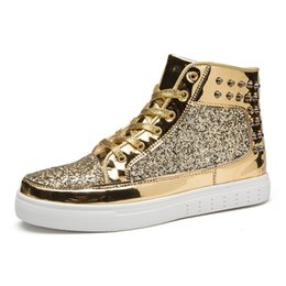 Wholesale Silver Hip Hop Shoes - PU Leather Men Casual Shoes High Top Hip Hop Rock Cool Fashion Couples Young Male Footwear Silver Gold